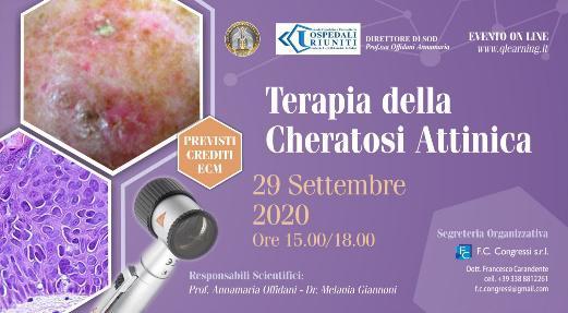 Webinar: Terapia della cheratosi attinica 29 Settembre 2020
